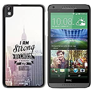 Slim Design Hard PC/Aluminum Shell Case Cover for HTC DESIRE 816 I Am Strong Because I Know / JUSTGO PHONE PROTECTOR