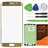 CrazyFire® Gold Front Outer Lens Glass Screen Replacement For Samsung Galaxy S6 Edge SM-G920 G925A G925P G925T G925V G925R4 G925F With Tools Kit And Adhesive