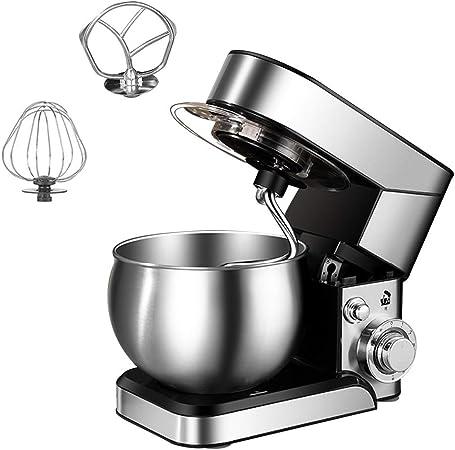 SWQG-Sartén Robot Cocina Eléctrico Batidora Amasadora 6 Velocidades con Las Batidoras de Pie Acero Inoxidable 5.5L Bowl, el Gancho Amasador, Mezcla Batidor y Baten, 1200W: Amazon.es