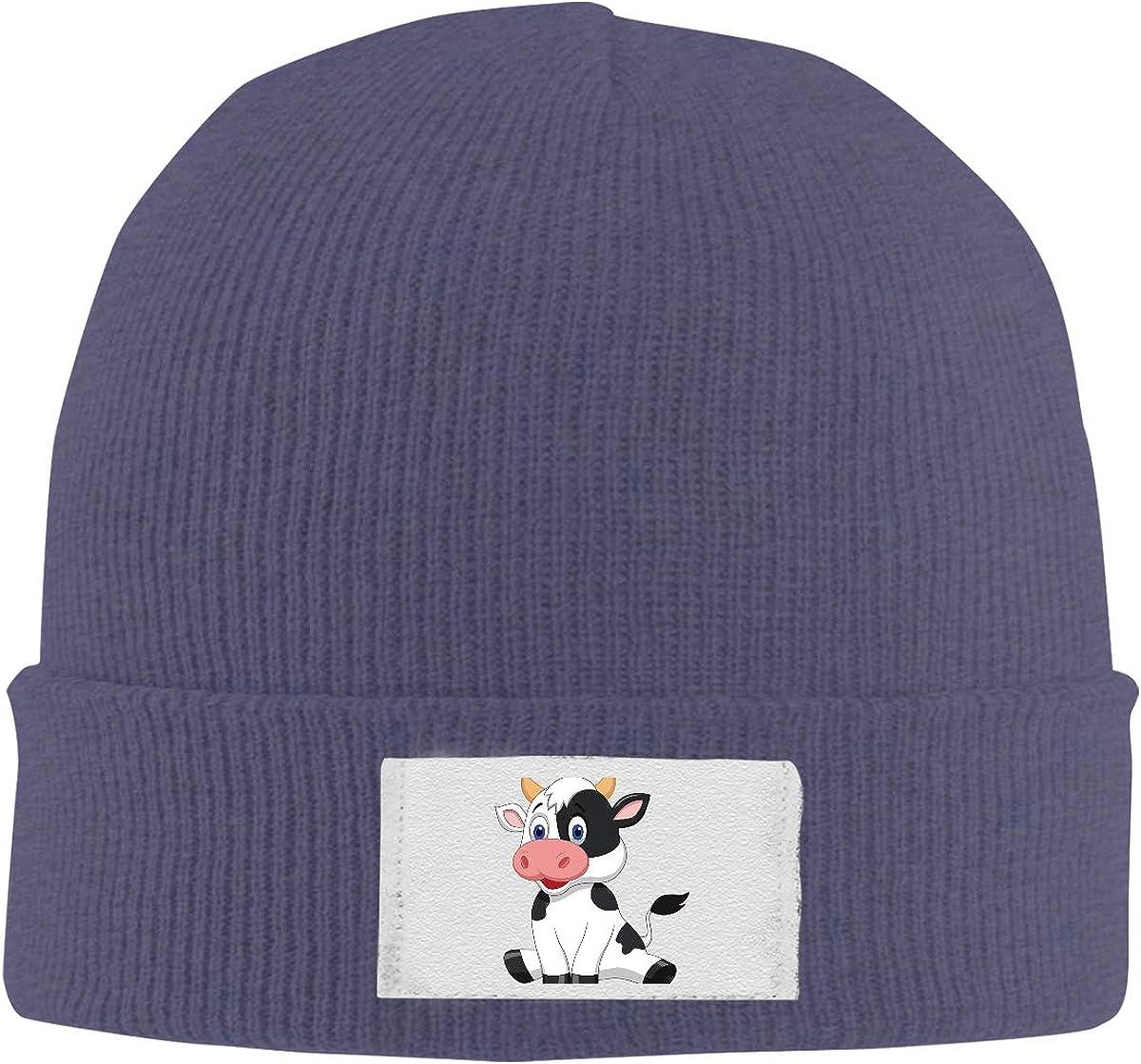Stretchy Cuff Beanie Hat Black Dunpaiaa Skull Caps Cute Cartoon Cow Winter Warm Knit Hats