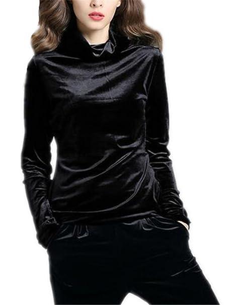 BESTHOO Pullover de Manga Larga Mujer Sudaderas Sencillos Clasicos Camisetas Cuello Alto Pullover Color SÓLido Bonitas