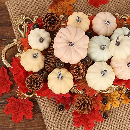 HiPatio Artificial Pumpkins, 12 Pcs Fake Pumpkins Faux Harvest Pumpkins for Thanksgiving Party Halloween Holiday Decorations