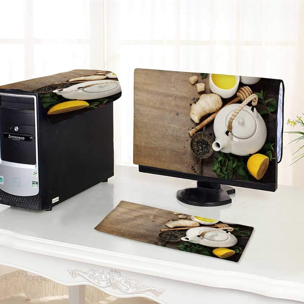 UHOO2018 コンピュータ キーボード ダストカバー 3ピース お茶 レモン付き 明るいキッチン モダンなライトダストカバー コンピューターケース/17インチ W19