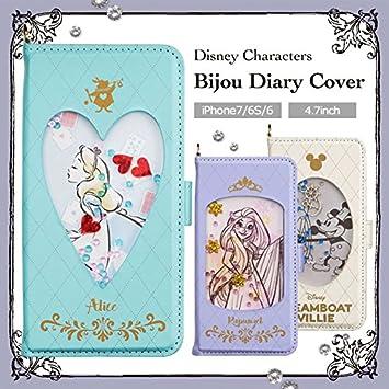 e0afa65e1c 【カラー:ミッキーマウス】iPhone7 iPhone6s iPhone6 ディズニー ビジュー ケース プリンセス キャラクター ダイカット 手帳