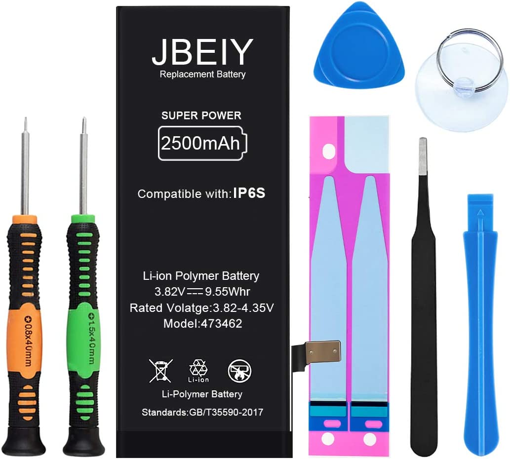 JBEIY Battery Compatible with iPhone 6S, New 2500mAh Super High Capacity Internal Battery Replacement 0 Cycle, with Complete Professional Replace Tool and Instructions-1 Year Assurance