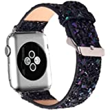 MIFFO Apple Watch Band 38mm 42mm iWatch Strap Extreme Deluxe Glitter Shiny Bling PU Leather Bracelet Wristband for Apple Watch Series 3, Series 2, Series 1, Sport Edition