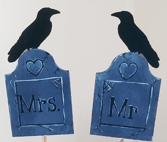 Amazon.com: Halloween Wedding Cake Topper Ravens Goth Offbeat: Handmade