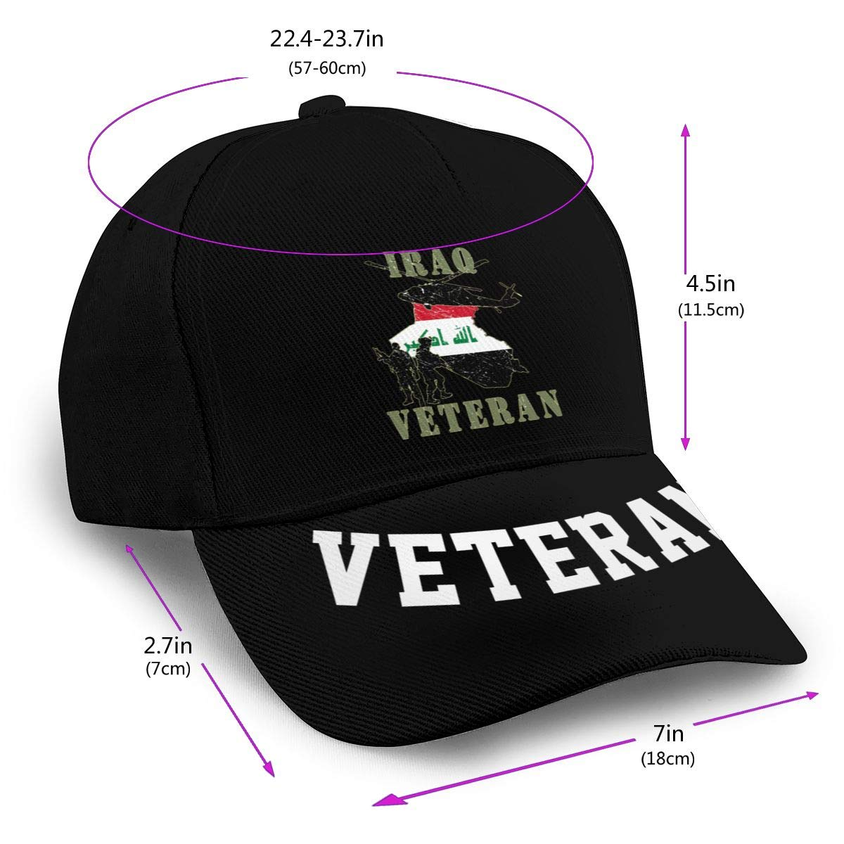 Iraqi Freedom Veteran Baseball Cap Dad Hat Unisex Classic Sports Hat Peaked Cap Veteran Hat