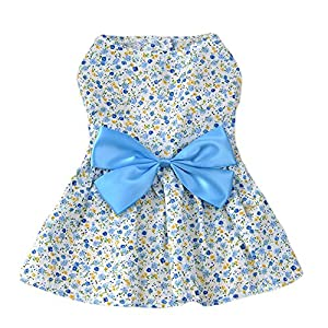 Saymequeen Dog Floral Skirt Summer Bowknot Dress Cat Princess Apparel for Girls