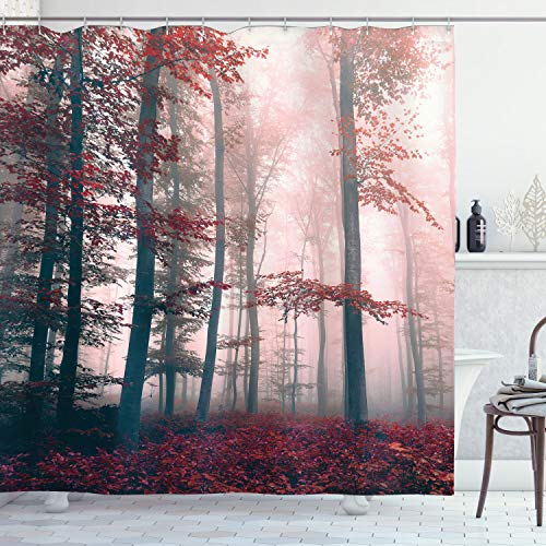 Ambesonne Forest Shower Curtain, Autumn Season Mystic Foggy Fall Nature and Enchanted Woods Wild Trees Print, Cloth Fabric Bathroom Decor Set with Hooks, 70