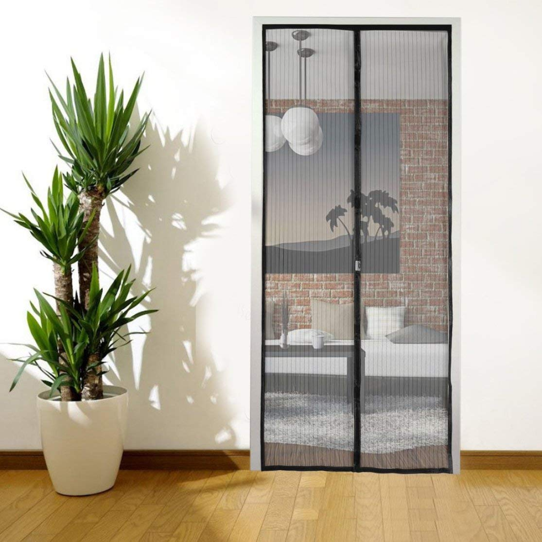 220cm LouiseEvel215 Flexible Reinforced Magnetic Fly Insect Mosquito Screen Door Net Curtain Middle Open Window Polyester Yarn Mesh 100
