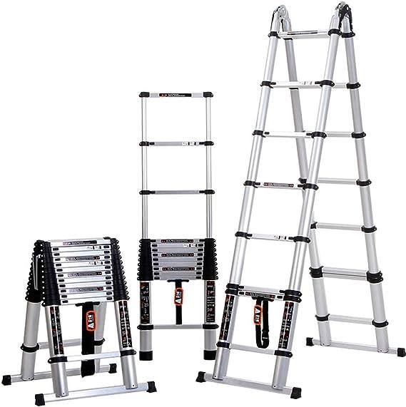 ZR- Escalera Telescópica De Múltiples Fines Aluminio Portátil Bricolaje Extensible Un Cuadro Escalera Pasos De La Extensión, Capacidad De 330 Libras -Fácil de almacenar y fácil de llevar: Amazon.es: Hogar