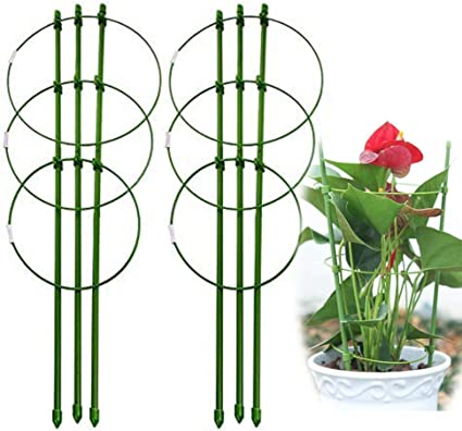 Foldable 17 7 Small Garden Pot Plant Support Trellises Ring Trellis Flower Climbing Vegtables Flowers Fruit Potato Tomato Peony Rose Grow Seeding Cage Stake Gardening Indoor 45cm 17 7inch 2 Pack Garden