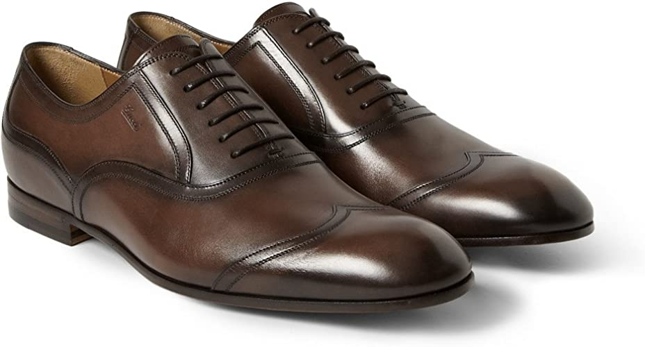 Gucci Burnished Leather Wingtip Oxford