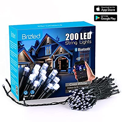 Brizled Smart LED Christmas String Lights, 200 LED 65ft Mini Lights, Bluetooth LED Lights Controlled by iOS & Android Devices, Ideal for Holidays, Parties and Wedding Decorations