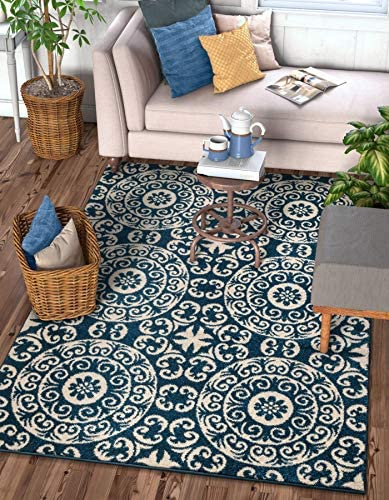 Well Woven Siq Tiles Blue Oriental Geometric Medallion Contemporary Casual Area Rug 5×7 5 3 x 7 3 Easy Clean Stain Fade Resistant No Shed Modern Traditional Moroccan Persian Living Dining Room