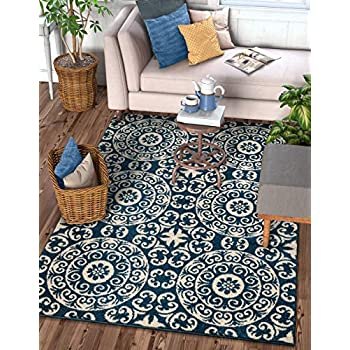 Amazon Com Well Woven Siq Tiles Blue Oriental Geometric