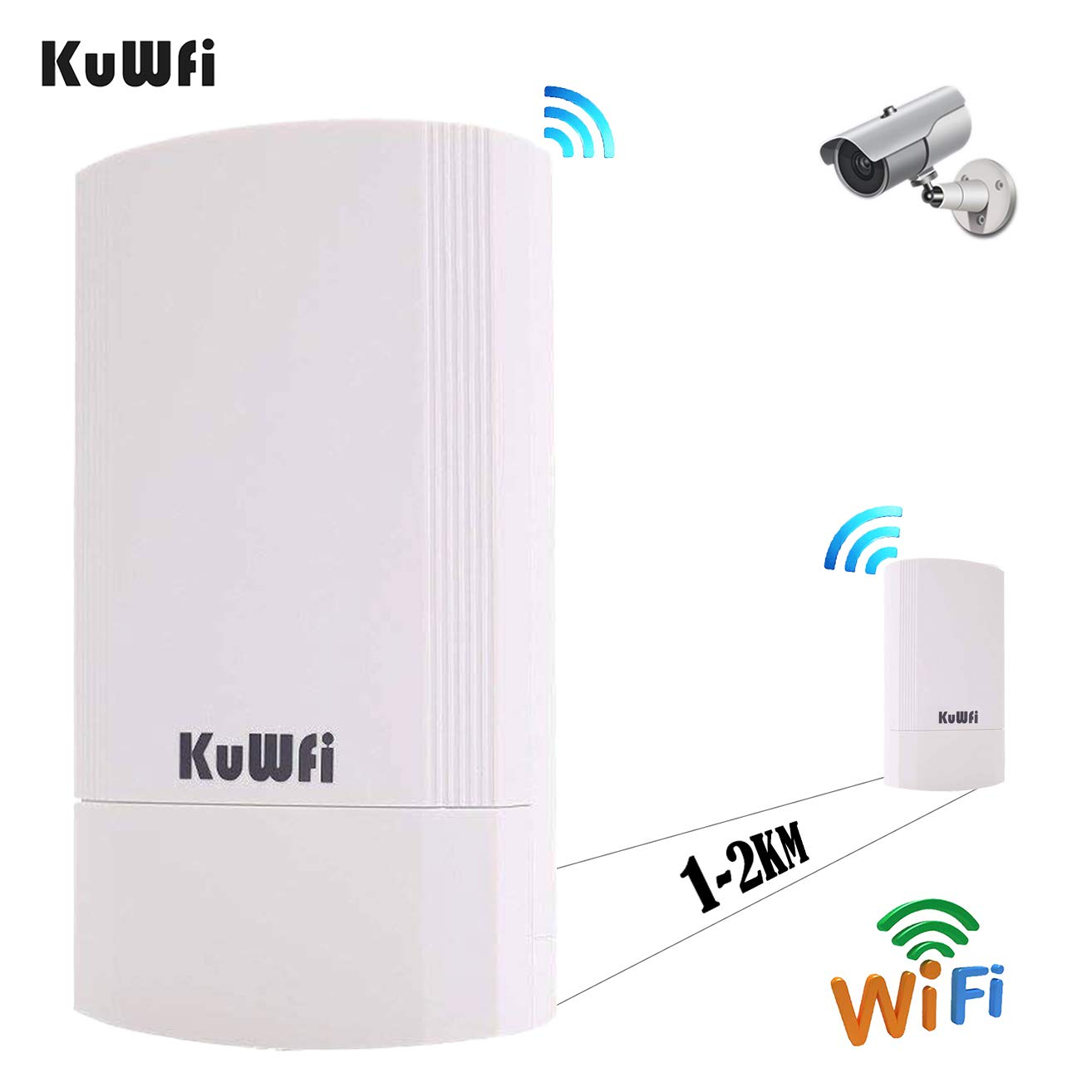 KuWFi Outdoor AP, 2-Pack 450Mbps Long Range Wireless CPE Bridge Point to Point Indoor&Outdoor CPE Kit Support 1-2KM 5.8G Anti-Interference for PTP/PTMP (Pre-Program WDS) by KuWFi