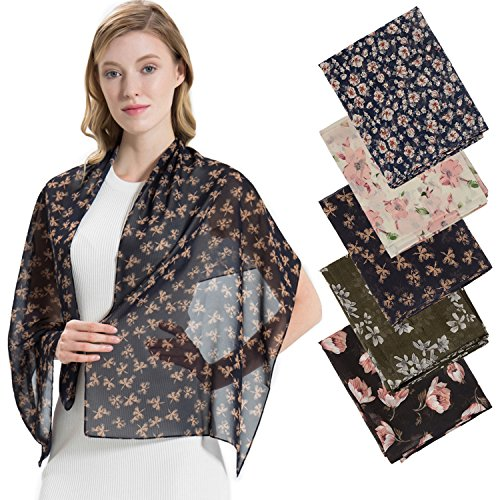 (5Pack HBY Scarfs For Women Lightweight Scarves Fashion Summer Spring Shawl Wrap Floral Patterns Black/Green/Cream/Navy/Blue One Size)