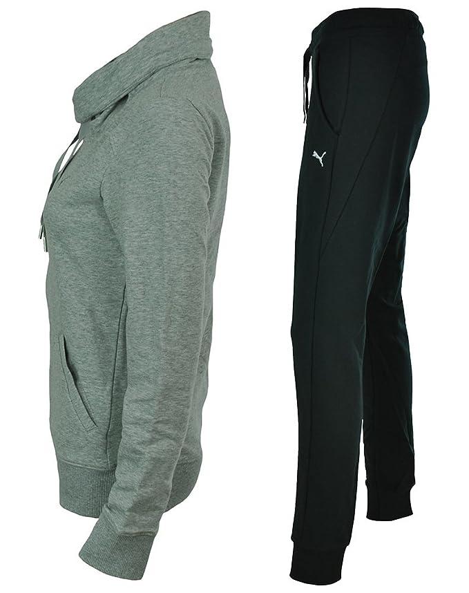 b0fb17f54be6 Puma Womens French Terry Suit Tracksuit grey Light Gray Heather Nero  Size Medium  Amazon.co.uk  Sports   Outdoors