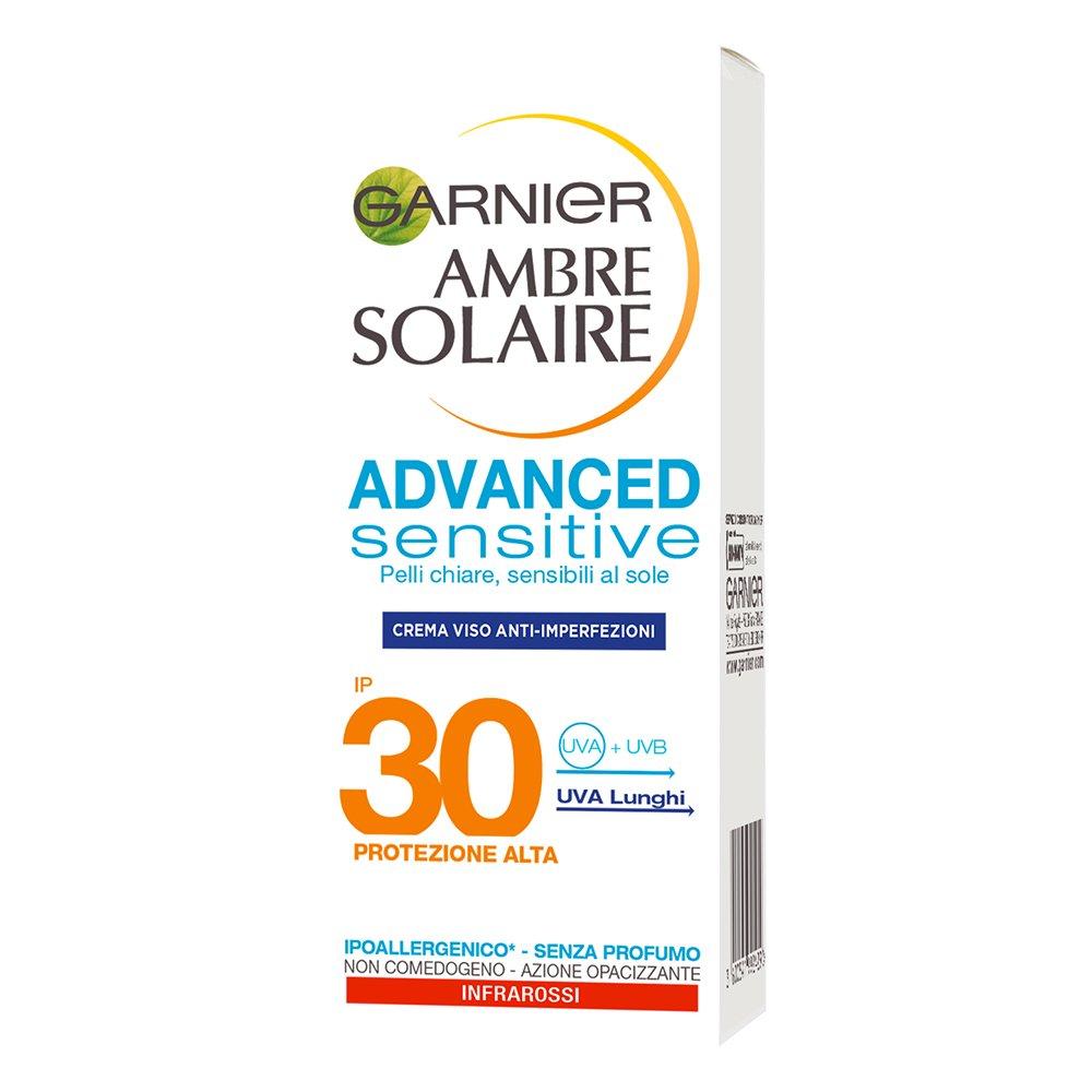 Garnier Ambre Solaire Crema Solare Viso Anti-Imperfezioni e Anti-Lucidità Advanced Sensitive, Protezione Solare Alta IP30, 50 ml C5653855