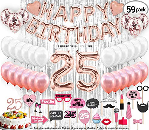 25th Birthday Decorations with Photo Props | 25 Birthday Party Supplies | 25 Cake Topper Rose Gold Banner | Rose Gold Confetti Balloons for her |Twenty Fifth Bday |Silver Curtain Photo Booth Backdrop ()