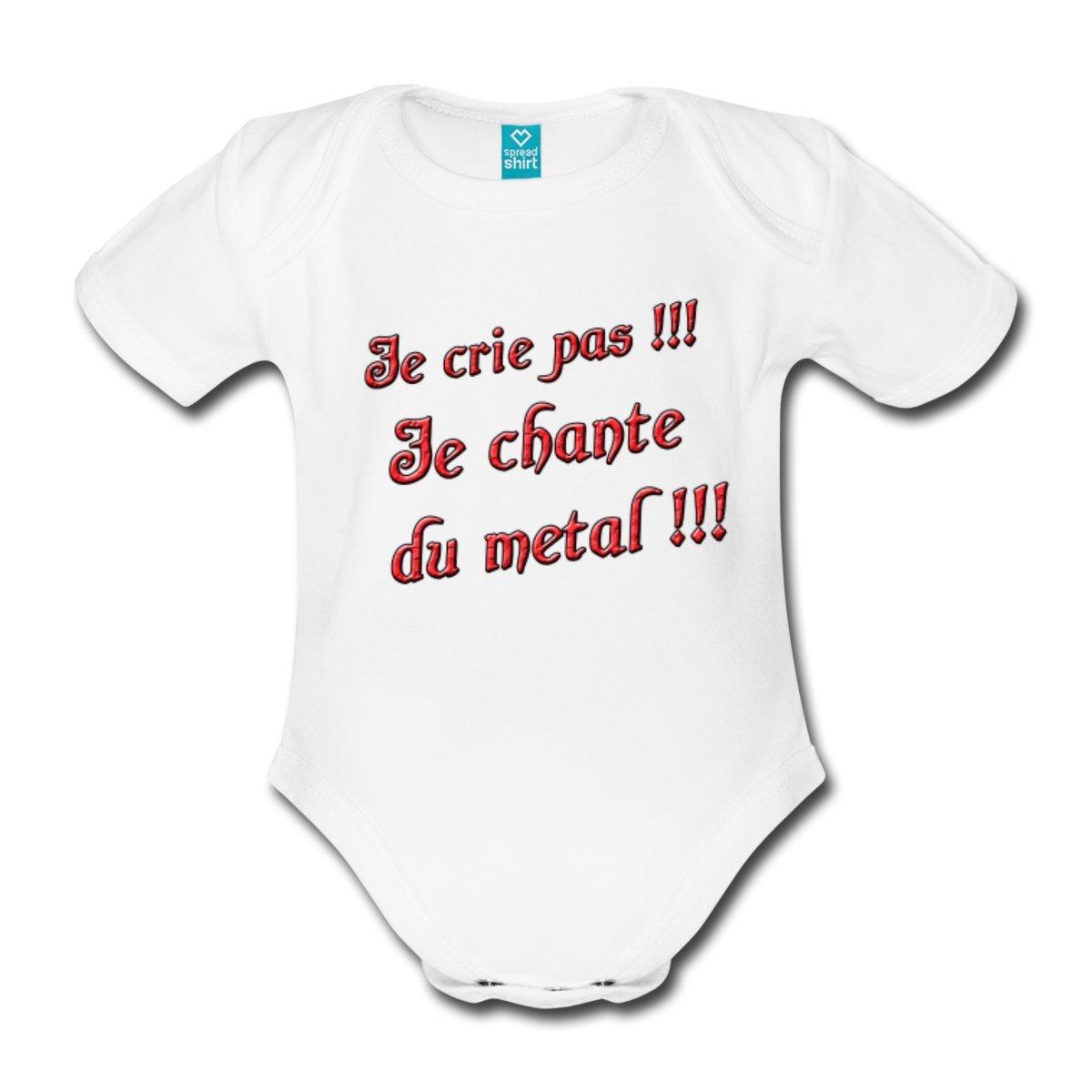 Spreadshirt Je Chante du Metal Body B/éb/é Bio Manches Courtes