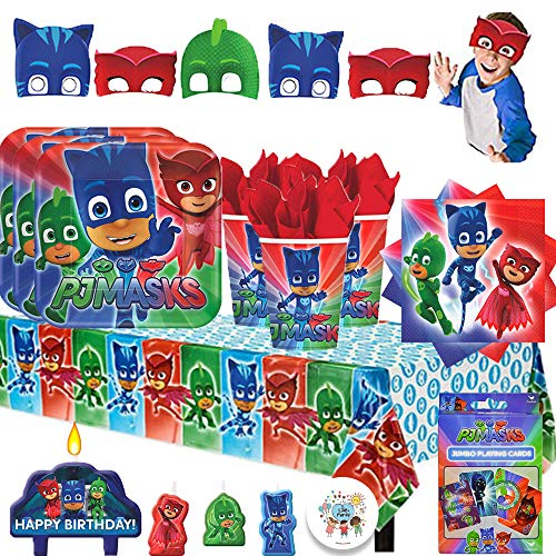 (PJ Mask Party Essentials Supply Pack For 16 Guests With Party PJ Mask Card Game, Dinner Plates, Napkins, Tablecover, Cups, Game, Masks, and Exclusive Pin By Another)