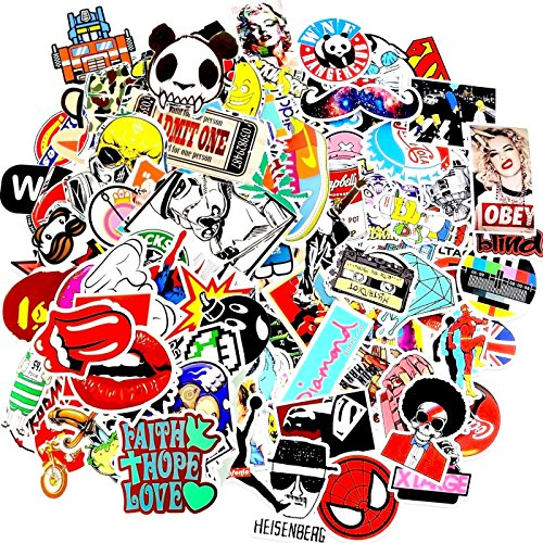 Laptop Stickers [100 pcs], by Weebumz Car Stickers Motorcycle Bicycle Luggage Decal Graffiti Patches Skateboard Stickers for Laptop - Random Sticker Pack