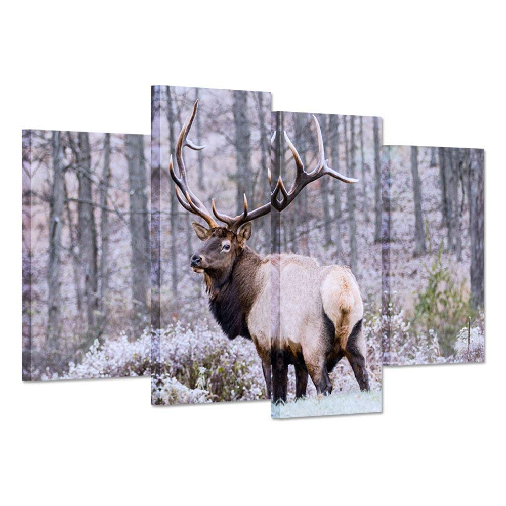 iHAPPYWALL 4 Panel Canvas Print Wall Art Painting Wild Animal Deer Elk Look Back in Forest Bushes The Picture Print On Canvas Stretched and Framed for Home Decor Ready to Hang