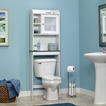 sauder caraway etagere bath cabinet soft white finish