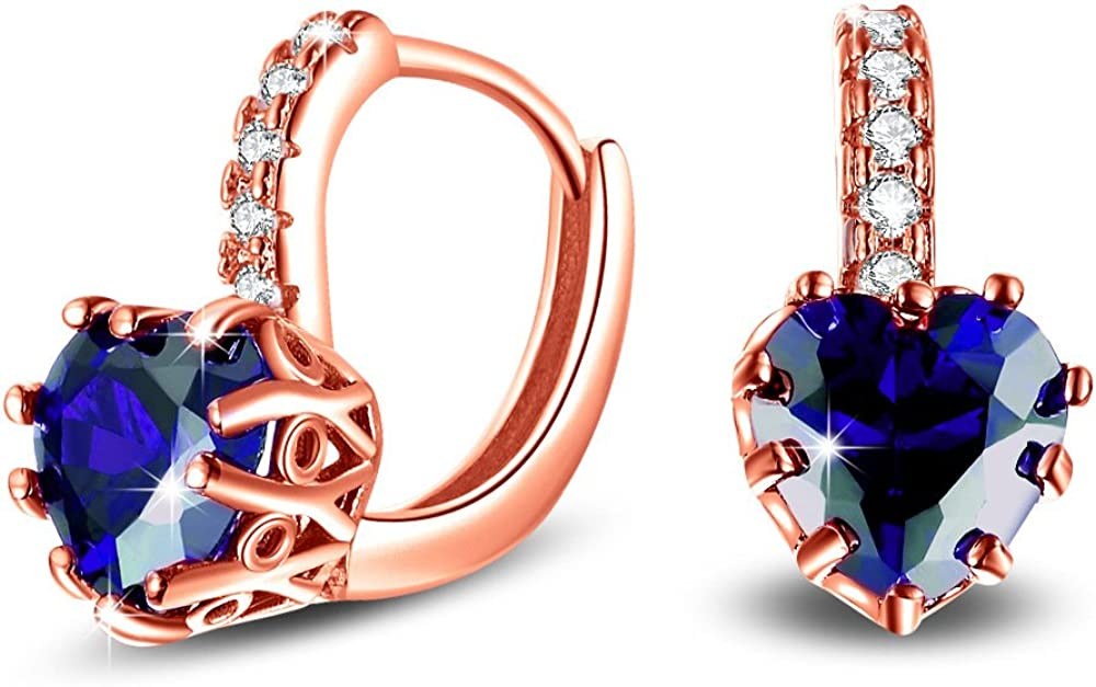 Uloveido Dainty Red & Blue Cubic Zirconia Love Heart Lever Back Solitaire Pendientes Chapado en oro rosa Fashion Ear Jewelry HE515