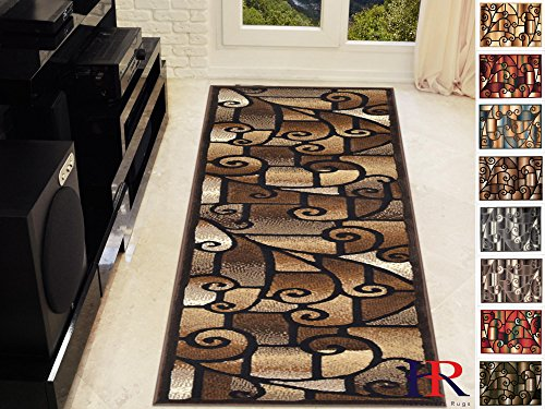 Handcraft Rugs-Modern Contemporary Living Room Rugs-Abstract Carpet with Geometric Swirls Pattern-Brown/Beige/Ivory/Chocolate (2x7 feet Runner)