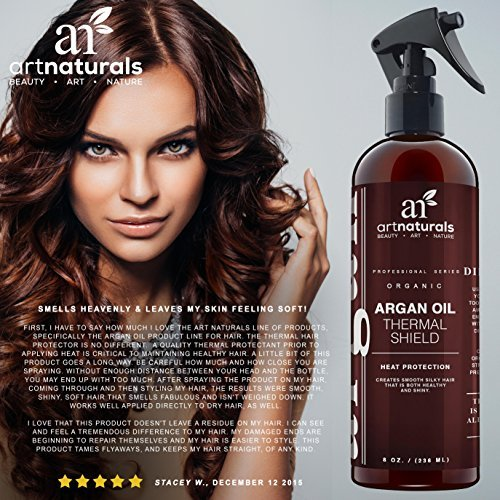ArtNaturals Thermal Hair Protector Spray - 8.0 Oz - Protective Spray against Flat Iron Heat - Contains 100% Organic Argan Oil Preventing Damage, Breakage & Split Ends - Made in the USA - Sulfate Free