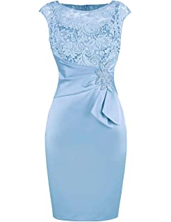413535acc Bess Bridal Women's Sheath Lace Beaded Knee Length Mother of The Bride Dress
