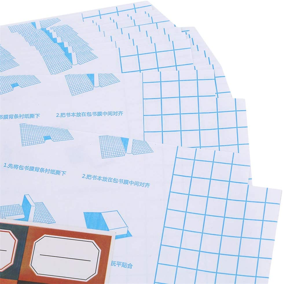 INSEET 30 Pcs Transparent Book Covering Self Adhesive Clear Sticky Back Plastic Film Grid Cover,Big//Medium//Small