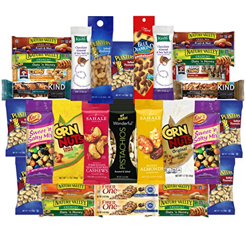Healthy Nuts & Bars Variety Snacks Pack (30 Count) by Custom Varietea