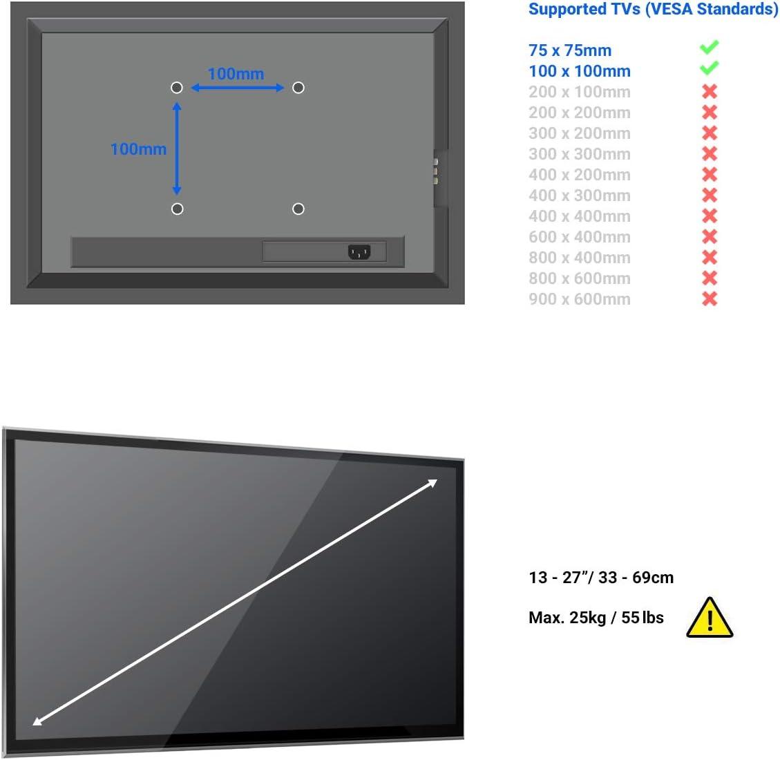 13-27 Pollici 33-69cm deleyCON Universal Supporto a Muro per TV /& Monitor - Fino a 25Kg /& VESA 100x100mm Distanza dal Muro Solo 36mm Inclinabile