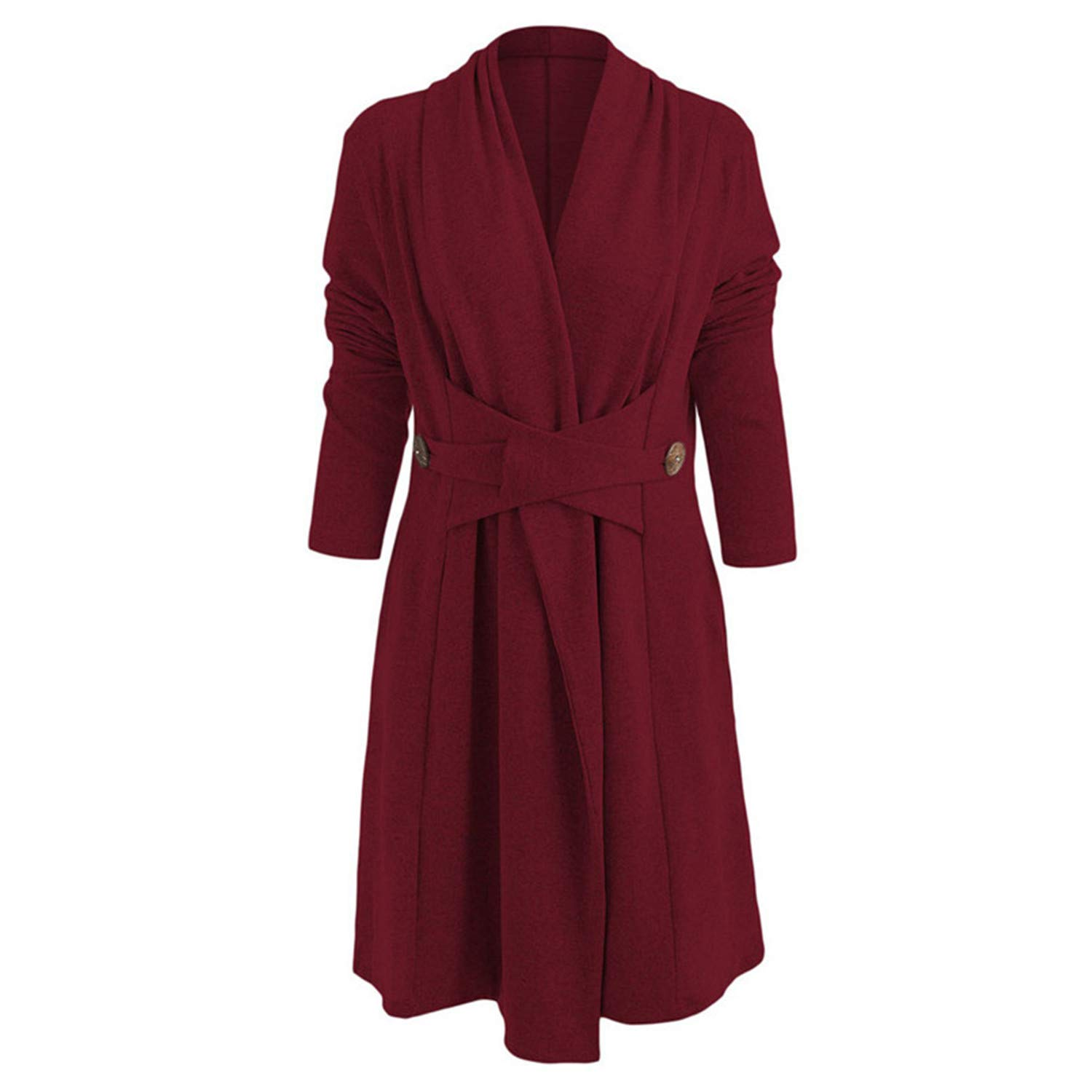 Amazon.com: Carol Chambers Open Stitch Clothes Open Front Button Long Duster Cardigan Imitation Coat Spring Autumn Ladies Coats: Clothing