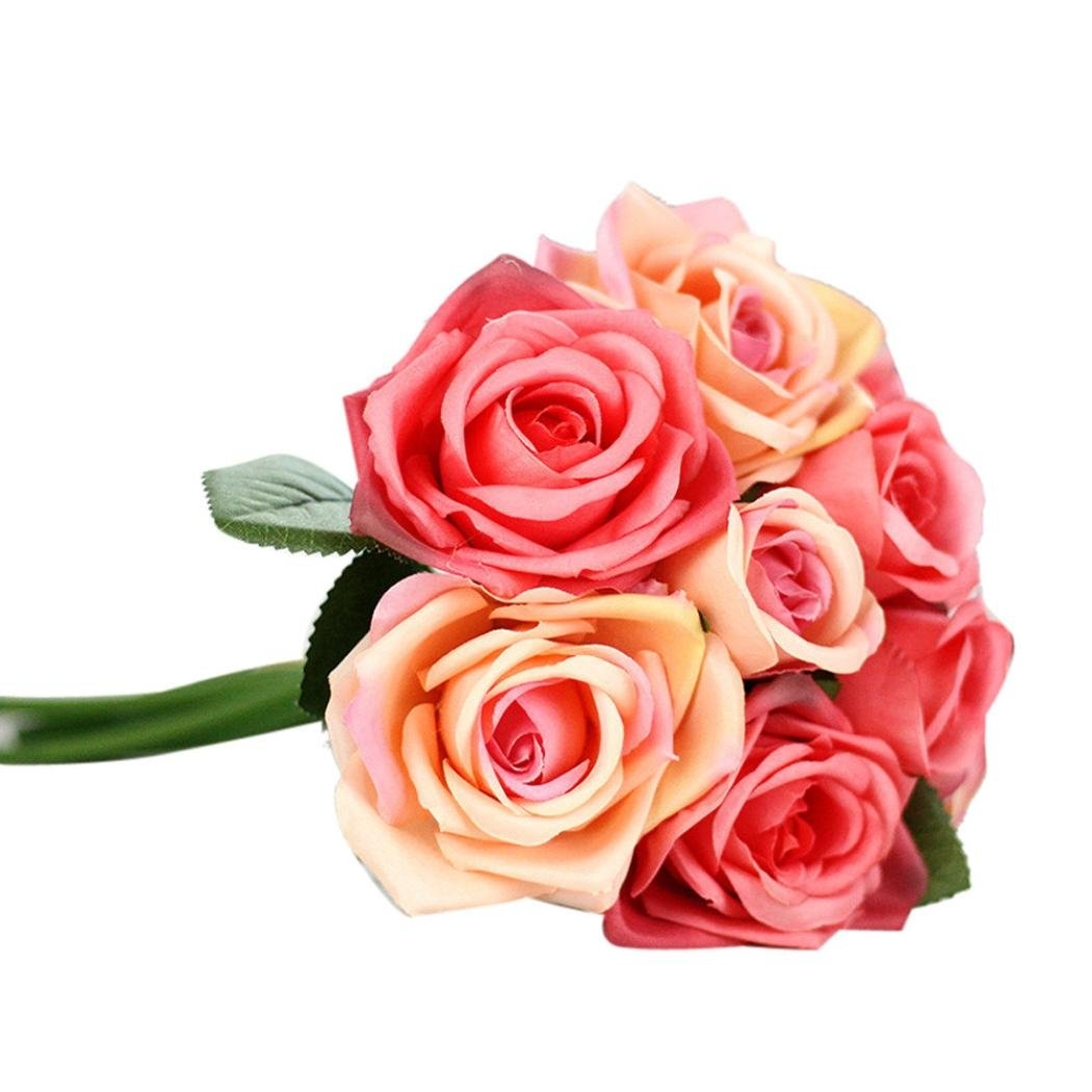 Amazon.com: Outtop 9 Heads 10.6 Inch Rose Artificial Flowers ...