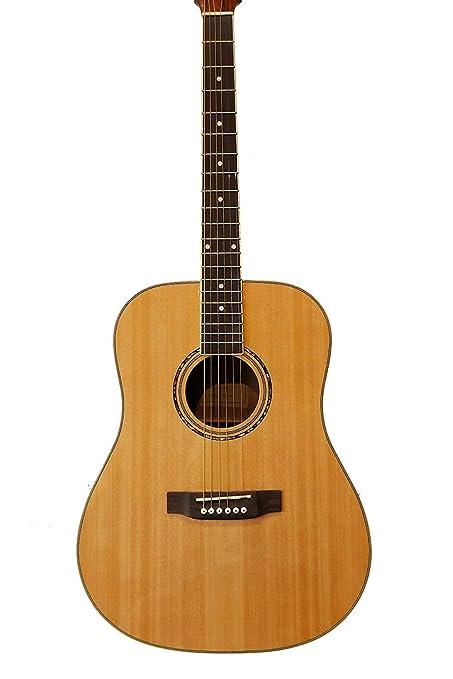 Guitarra Acústica de Caoba + 4 púas + 2 golpeadores + herramienta para ajustar mástil.