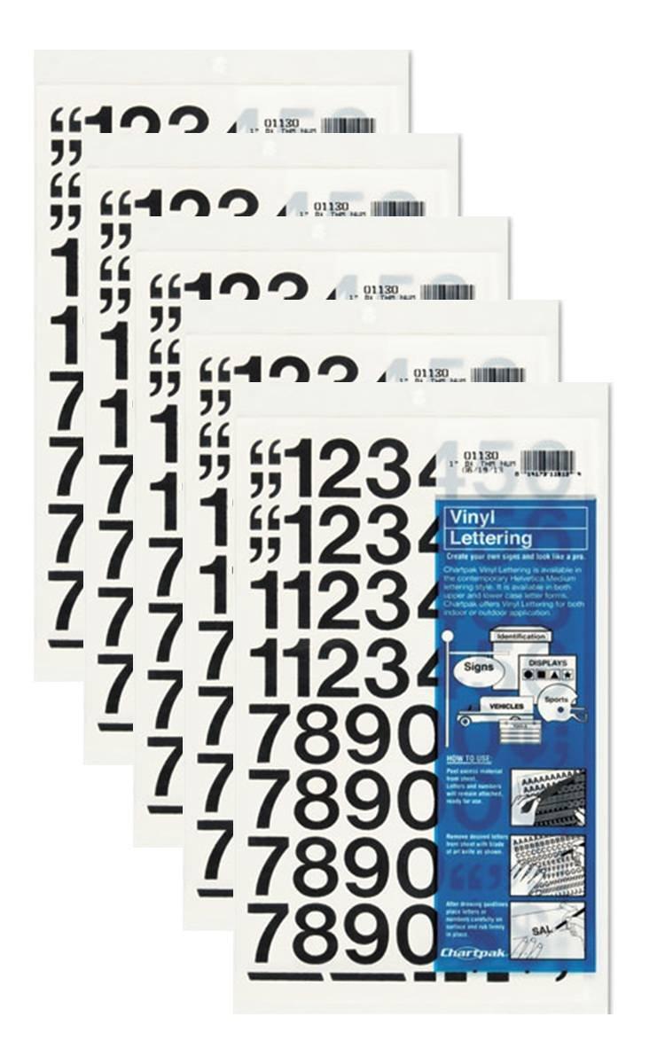 Chartpak 1-inch Black Stick-on Vinyl Numbers (01130), 5 PACKS