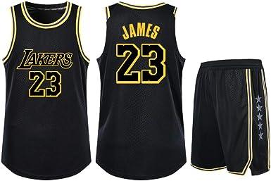 Es un Regalo para NO.23 fanáticos de Lebron James Jersey de Baloncesto de Los Angeles Lakers Juventud Estudiante Niños Adultos Camisa Retro de Dos Piezas de Manga Corta: Amazon.es: Ropa y accesorios