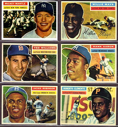 1956 (6) Card Topps Baseball Reprint Lot #1 (Mickey Mantle) (Willie Mays) (Ted Williams) (Jackie Robinson) (Roberto Clemente) (Hank Aaron) (Mickey Mantle Williams Ted)