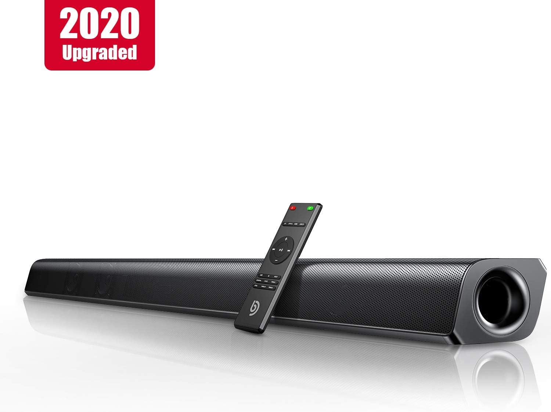 Barra de Sonido 2.0 Canales, Potencia 110 dB, BOMAKER Tecnología DSP Subwoofer Incorporado, HDMI, Bluetooth 5.0, para TV, Óptico, 3,5 mm Audio AUX, USB, para Cine en Casa, ODINE II, Negro-Gris