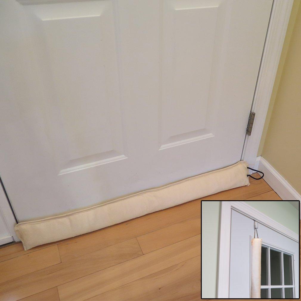 Evelots Updated Hanging Door Draft Stopper with Door Hook, Save Energy & Money