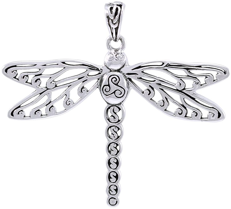 Sterling Silver Celtic Triskele Dragonfly Pendant by Artist Cari Buziak
