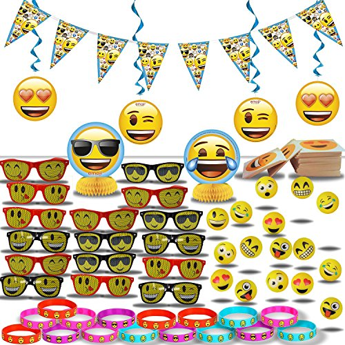 Emoji Party Decorations and Favors for 16: Banner + Swirls + Center Pieces + Sunglasses + Tattoos + Bracelets + Hi-Bounce Balls - All Emoji Theme]()