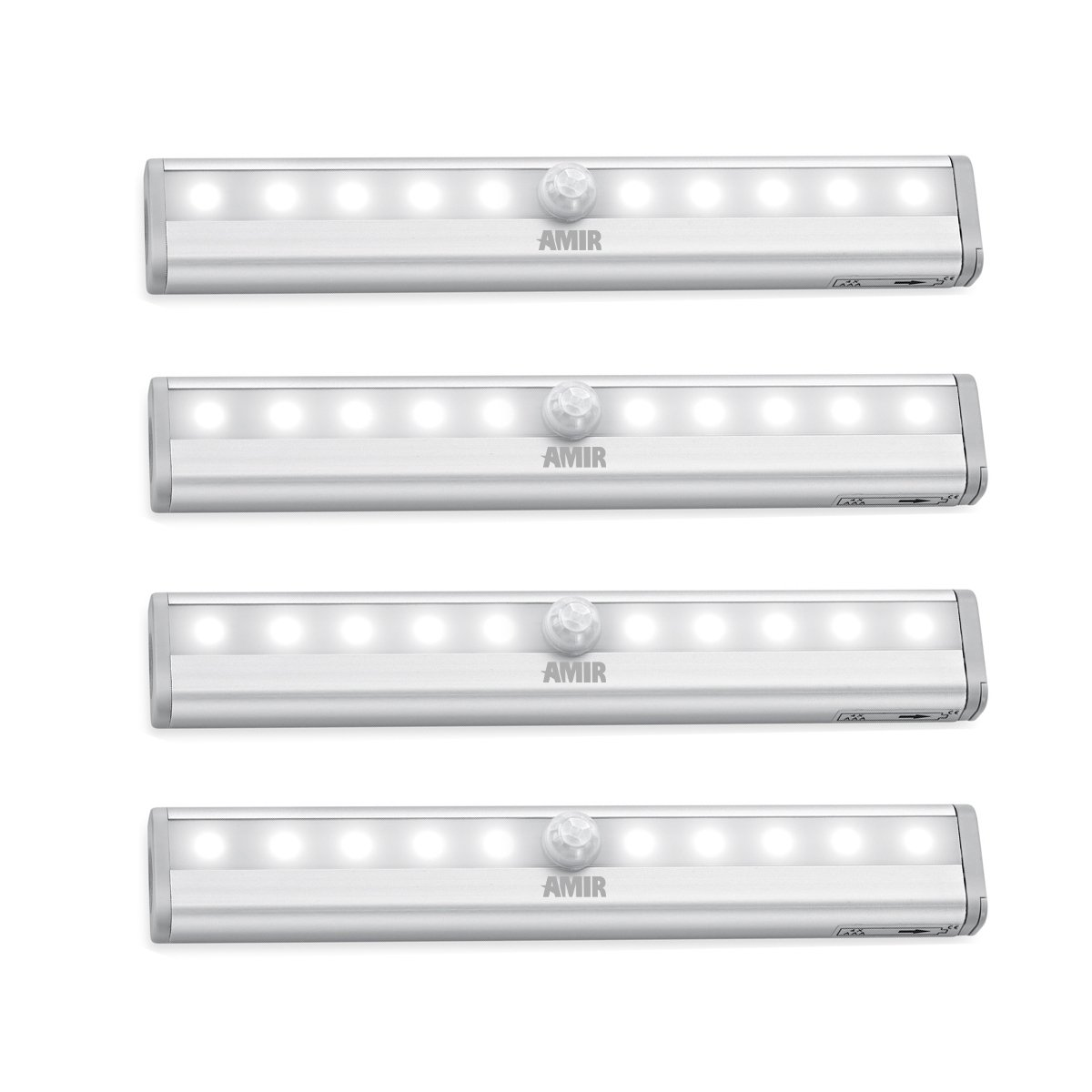 AMIR 10 LED Motion Sensing Closet Lights, DIY Stick-on Anywhere Portable 10-LED Wireless Cabinet Night/Stairs Light Bar with Magnetic Strip, Puck Lights (Battery Operated - 4 Pack)
