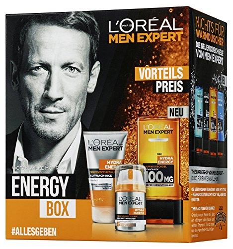L'Oreal Paris Men Expert Geschenkset Energy Box Männerpflege -  Pflegeset inkl. erfrischendem Reinigungsgel + 24h Anti-Müdigkeit Feuchtigkeitscreme und Hydra Energy Taurin Duschgel Geschenk Beauty